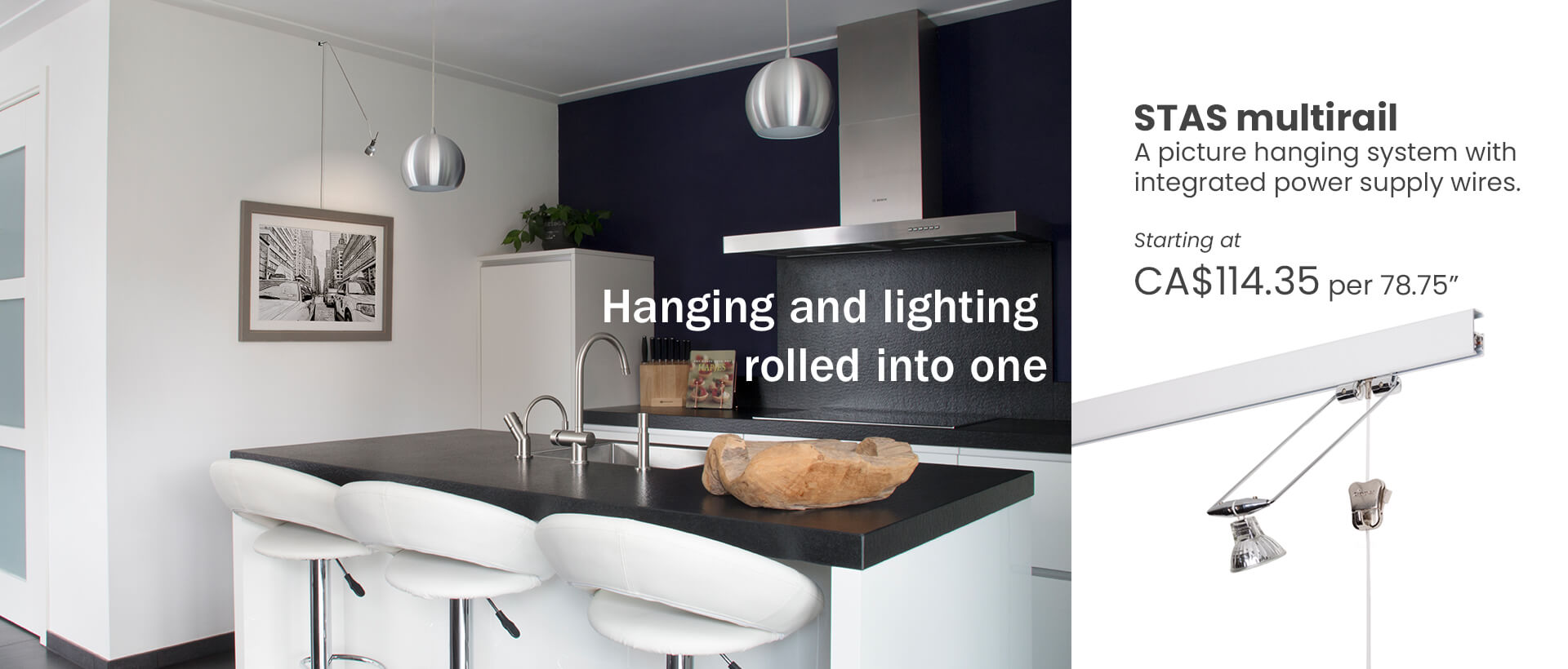 Picture hanging system with lighting