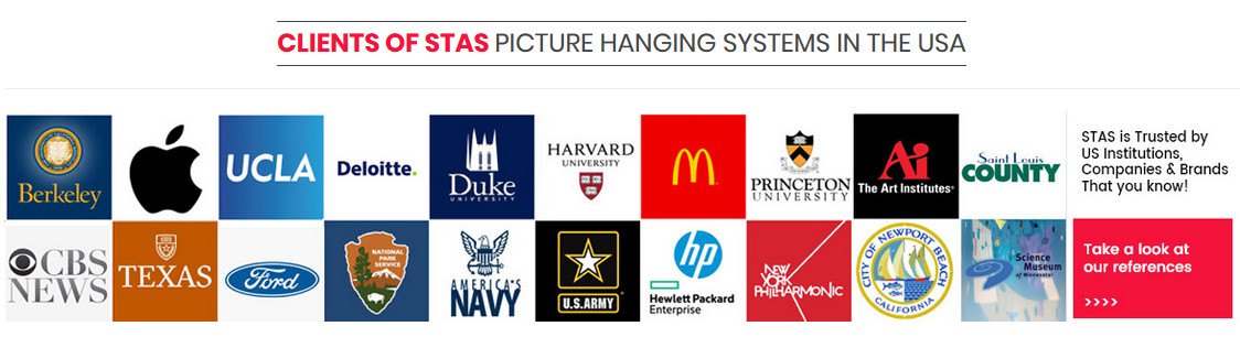 STAS picture hanging systems clients / references